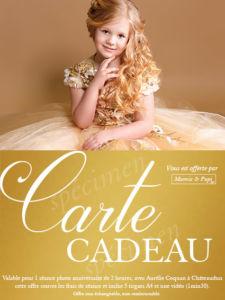 Anniversaire enfant à Châteaudun : carte cadeau séance photo princesse