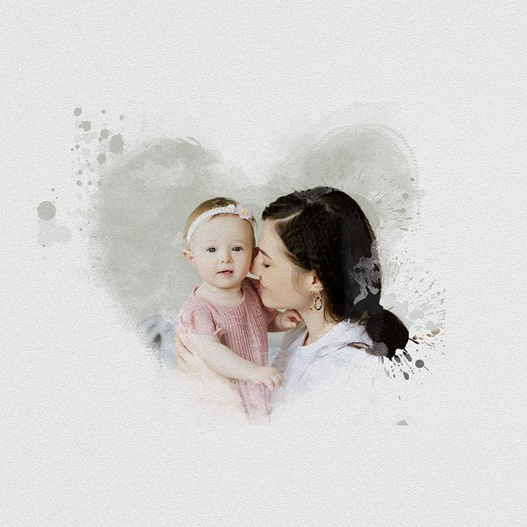 seance photo mère fille : photo de style peinture mere fille