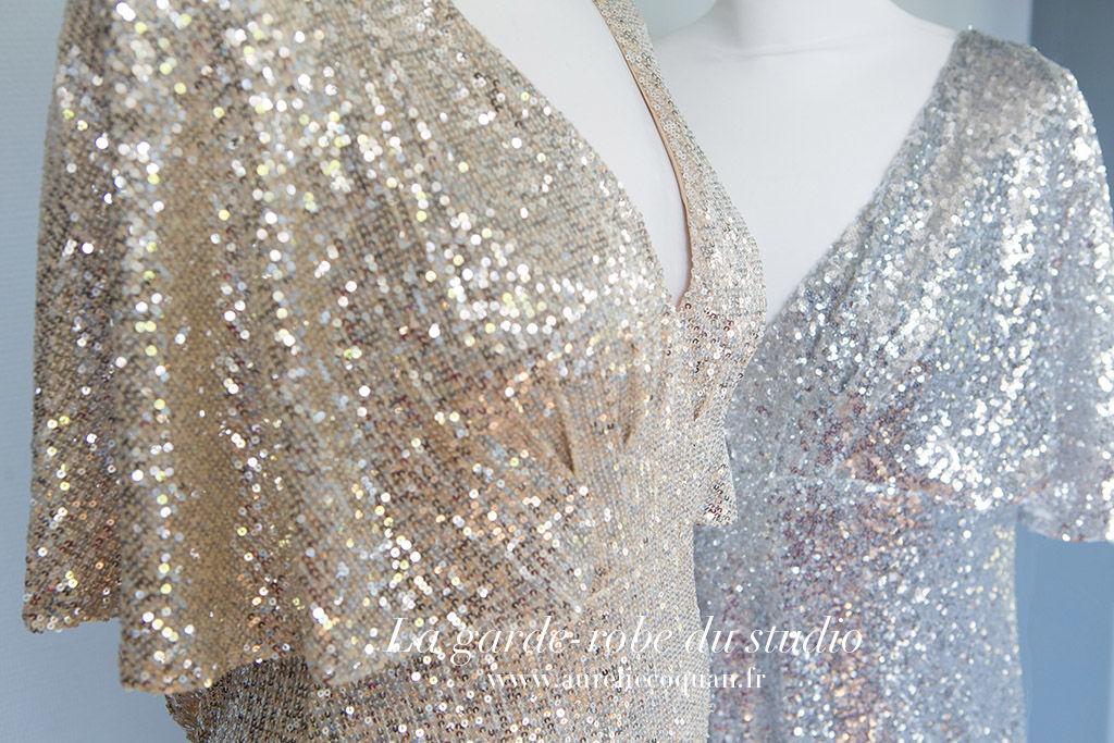 Garde-robe grossesse : robe grossesse à sequin pour séance photo grossesse glamour | www.aureliecoquan.fr